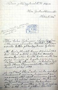 KKK1905, 2. osasto V jaosto, akti 11:109, David Jääskeläinen kenraalikuvernöörille 15.2.1905, s. 1